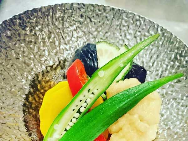 加茂茄子と鱧の夏野菜揚げ浸し